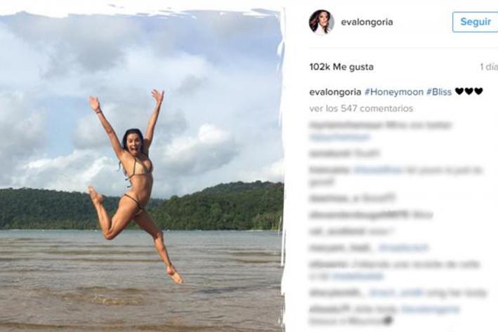 Eva Longoria, bikini y luna de Miel