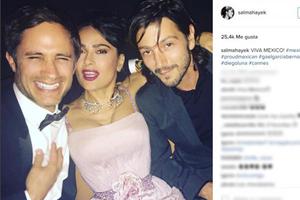 Salma, Diego y Gael, reunión de mexicanos en Cannes