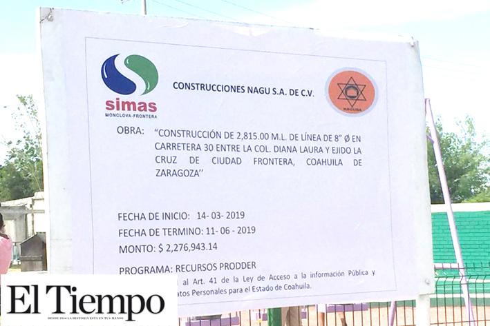 Llegará agua con más presión a Ejidos La Cruz y 8 de Enero