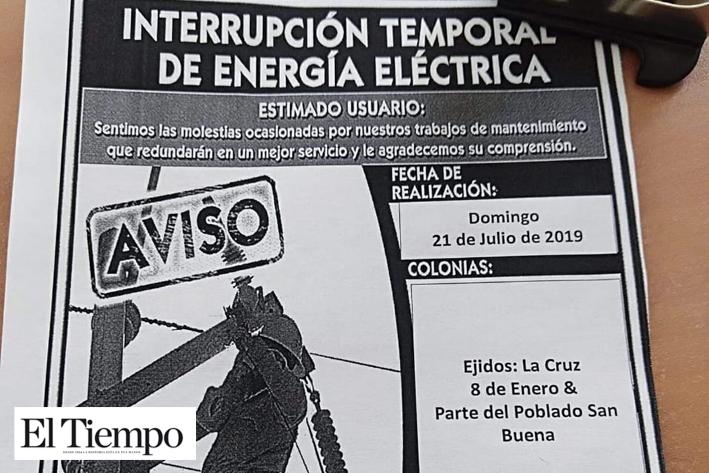 Sin energía el 8 de Enero y parte de San Buena
