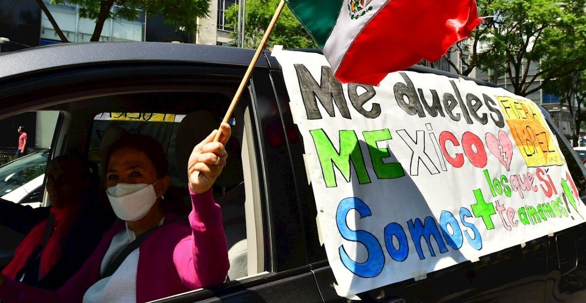Protestan para exigir la renuncia de AMLO