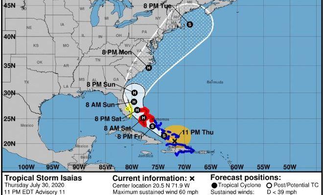 Huracán Isaías llega al sureste de Bahamas ¿Podría llegar a México?