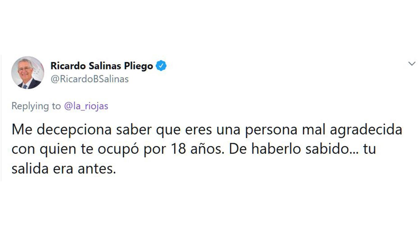 """""""Eres una malagradecida"""", dice Salinas Pliego a mujer que le reclamó en Twitter por despido"""