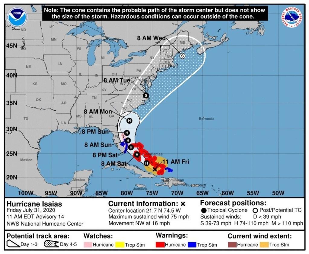 Isaías toca tierra en Bahamas y bajan vientos máximos rumbo a Florida