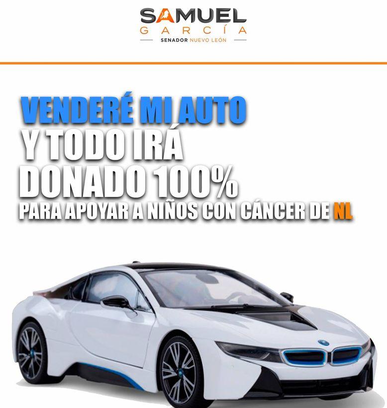 Samuel García pone a la venta su auto para apoyar a niños con cáncer