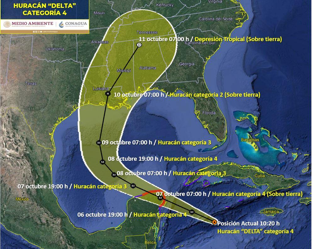 'Delta' se ha intensificado a huracán categoría 4 sobre el Mar Caribe