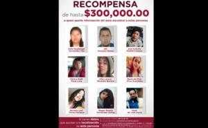 Ofrecen hasta 300 mil pesos por información de 9 desaparecidos
