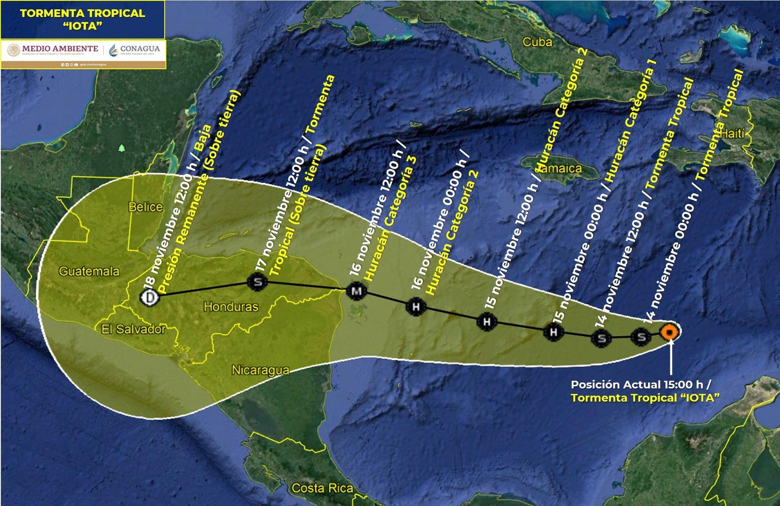 Alerta amarilla en El Salvador por el huracán Iota