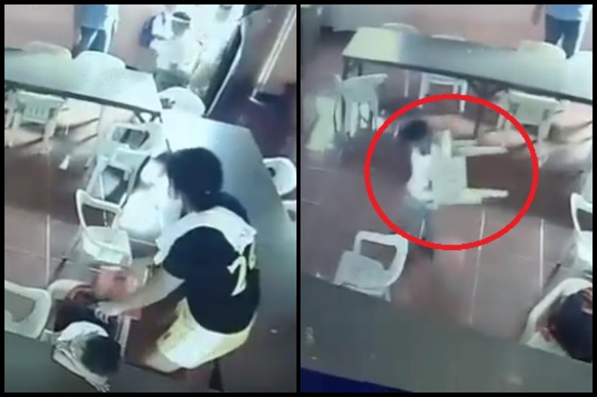 VIDEO: Niño se confunde y se pone una silla como mochila