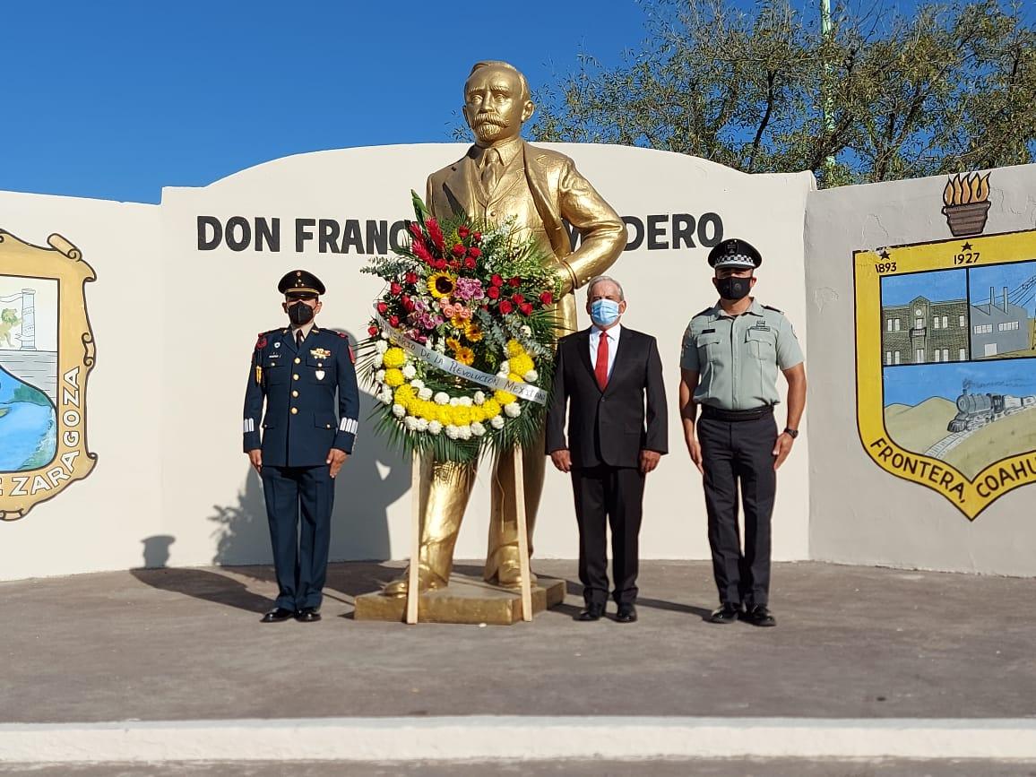 Con ofrenda floral en Frontera celebran la revolución mexicana
