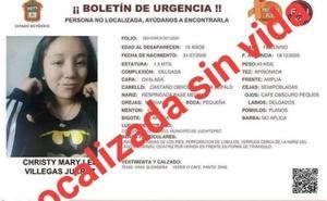 Hallan sin vida a Christy; había sido reportada como desaparecida en el Edomex