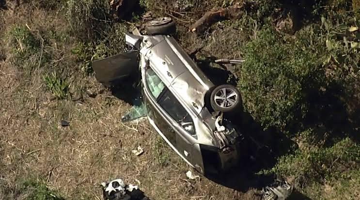 Así termino el automóvil de Tiger Woods tras accidente vial