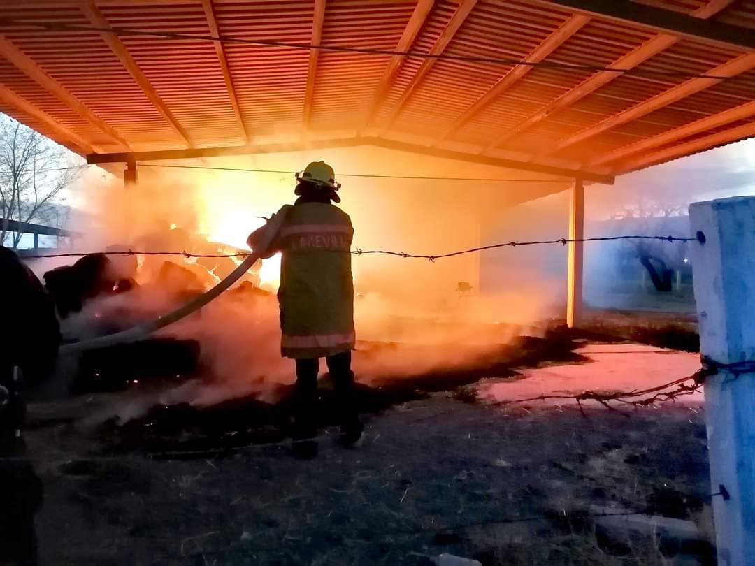Arden pacas de sorgo dentro de preparatoria
