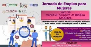 Ofertará el SNE 250 vacantes exclusivamente para mujeres en Monclova
