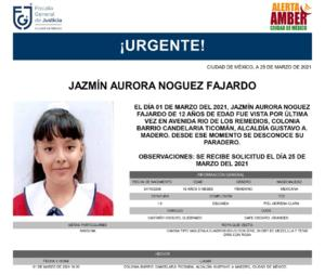 Emiten Alerta Amber para Jazmín, niña de 12 años desaparecida en GAM