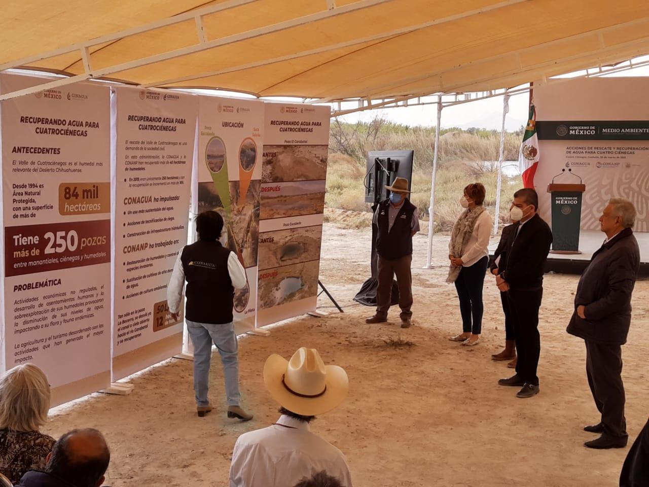 Aborda AMLO recuperación de agua en 84 mil hectáreas de área natural protegida de Cuatro Ciénegas