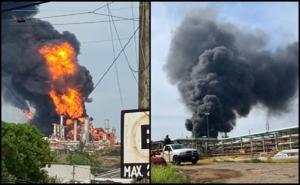Reportan incendio en refinería Lázaro Cárdenas en Minatitlán