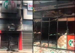 Vandalizan e incendian sede del PRI en Tuxtla Gutiérrez