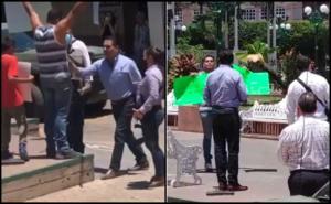 Silvano Aureoles encara y empuja a manifestante en Aguililla