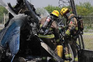Confirman un muerto tras desplome de helicóptero en Apodaca