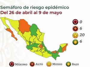 Ubican a 6 estados en semáforo  verde y 20 en amarillo en México