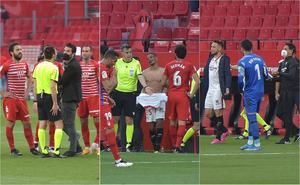 Jugadores del Sevilla vuelven del vestidor para terminar el duelo