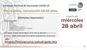 Así será el registro para vacuna antiCOVID-19 en adultos de 50 a 59 años