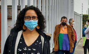 Gaby Osorio, candidata de Morena por Tlalpan, madruga para votar