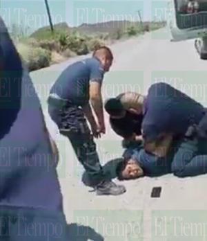 Policías de Frontera realizan detención con lujo de violencia hacia trailero
