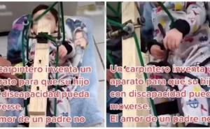 Amor verdadero: Carpintero inventa un aparato para que su hijo con discapacidad pueda moverse