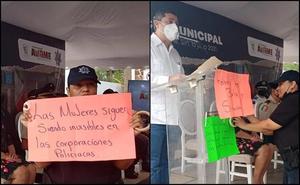 Mujer policía reclama a autoridades en Sinaloa