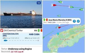 60 años después: México envía buque a Cuba con 40 mil litros de petrolíferos