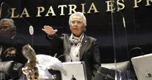 Olga Sánchez Corderotoma protesta comopresidenta del Senado