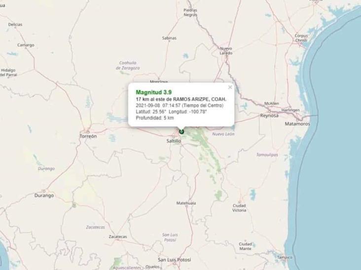 Se registra sismo de magnitud 3.9 en la región sureste de Coahuila
