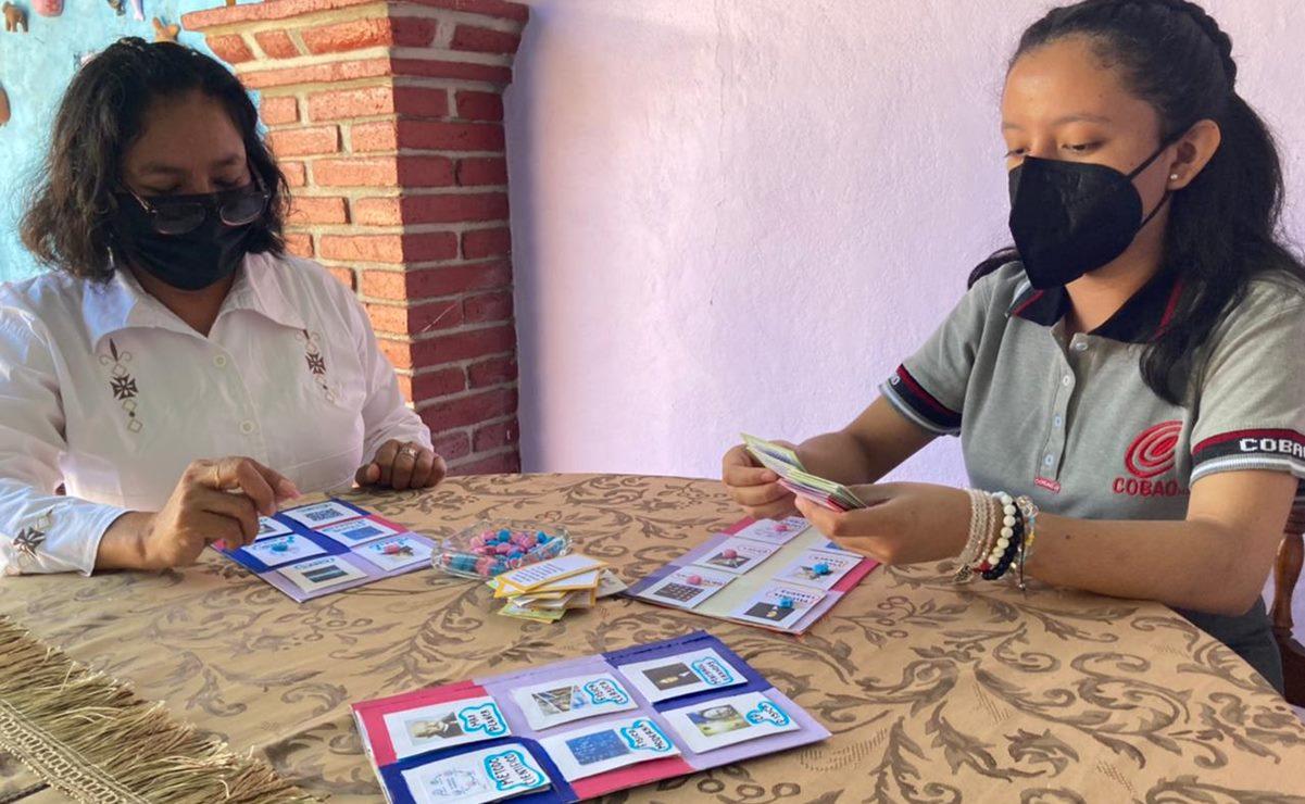 Alumna en Oaxaca crea una lotería con materiales reciclados