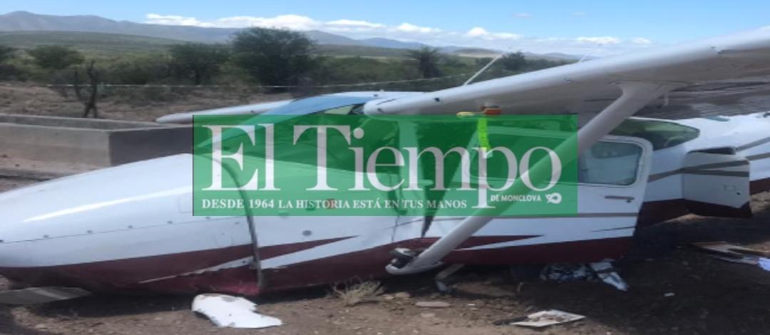 Avioneta realiza aterrizaje forzoso en Castaños; los 4 tripulantes resultaron ilesos