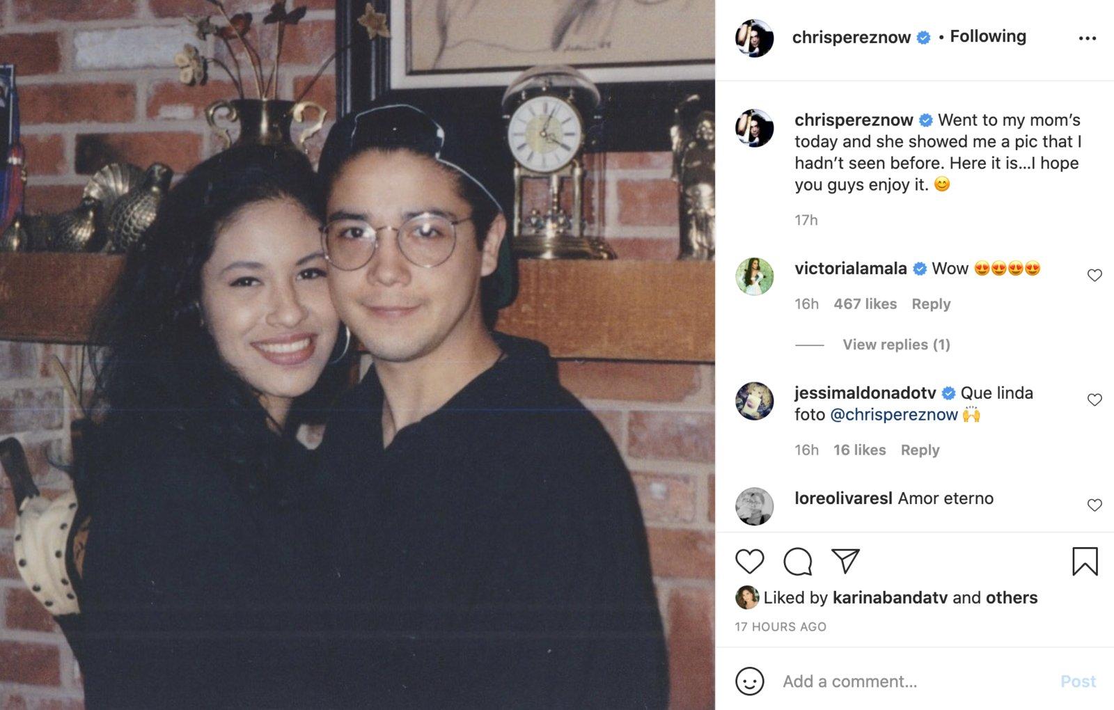 Chris Pérez comparte foto nunca antes vista de Selena