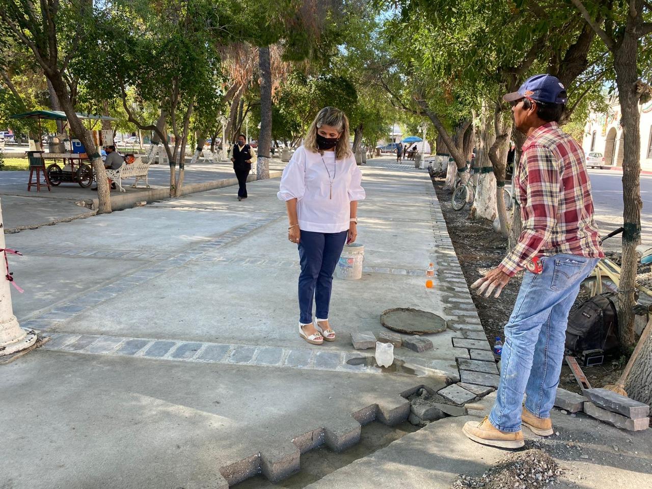 Las autoridades concluyen embanquetado de la Plaza Miguel Hidalgoen San Buenavantura
