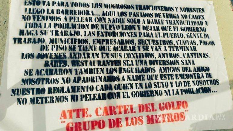 Monterrey en alerta; aparecen narcomantas del Cártel del Golfo, para todos los mugrosos traicioneros