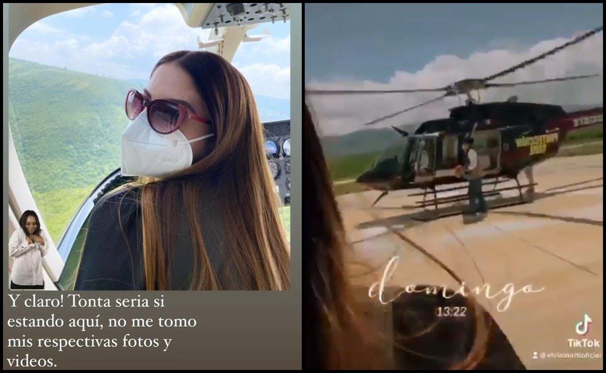 Esposa de funcionario del IMSS pasea en helicóptero con vacunas Covid
