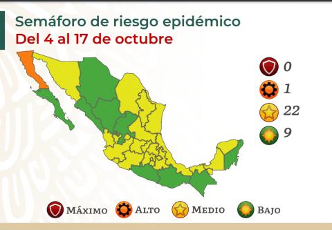 Actualizan semáforo de riesgo por COVID-19 en México; Coahuila permanece en amarillo