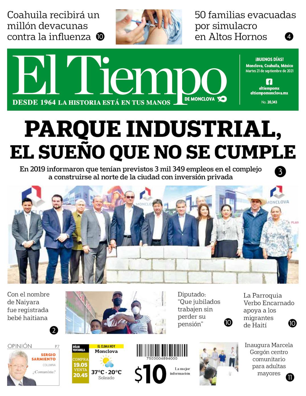 Portada del martes 21 de septiembre de 2021, periódico El Tiempo de Monclova