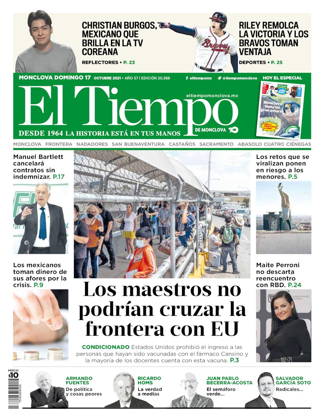 Portada del domingo 17 de octubre de 2021, periódico El Tiempo de Monclova
