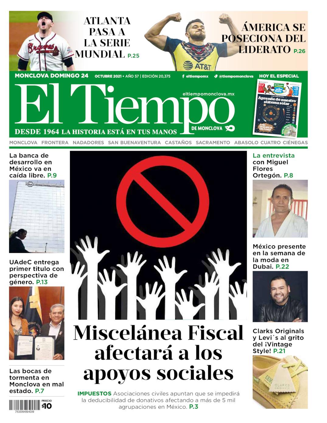 Portada del domingo 24 de octubre de 2021, periódico El Tiempo de Monclova