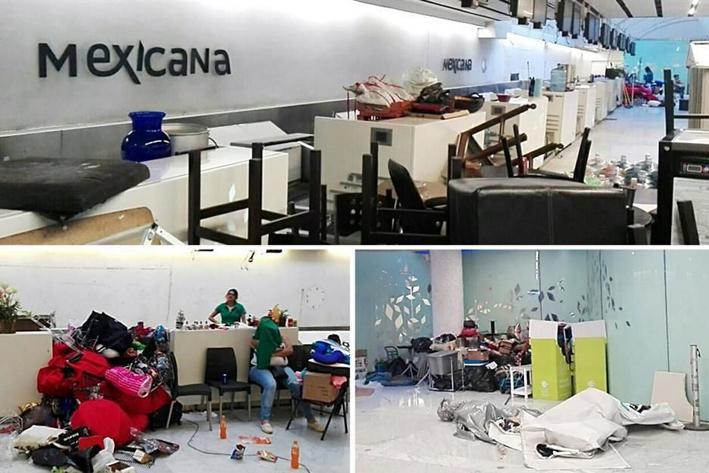 Ex trabajadores de Mexicana retiran a barzonistas de AICM