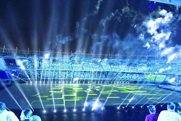 En alto la monoestrellada durante la apertura de los Juegos de Barranquilla