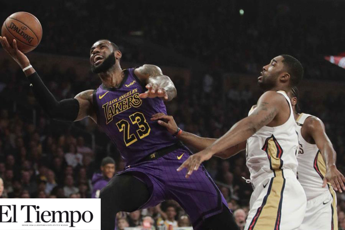 James anota 22 puntos; Lakers ganan 112-104 a Nueva Orleáns